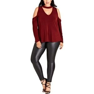 City Chic Cold Shoulder Choker Top NWT 16W